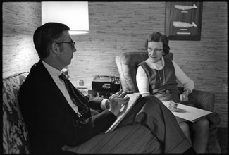 Fred M. Rogers of Mister Rogers' Neighborhood and Pitt child psychology professor Margaret B. McFarland