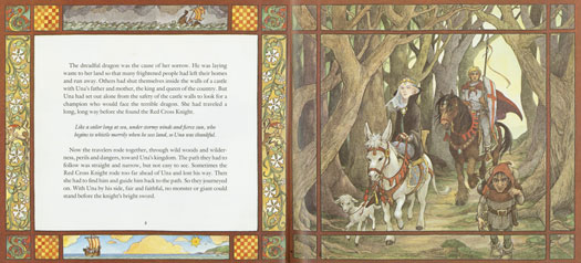 A two-page spread from the Caldecott-winning picture book <em> Saint George and the Dragon</em> (1984) by Margaret Hodges and Trina Schart Hyman